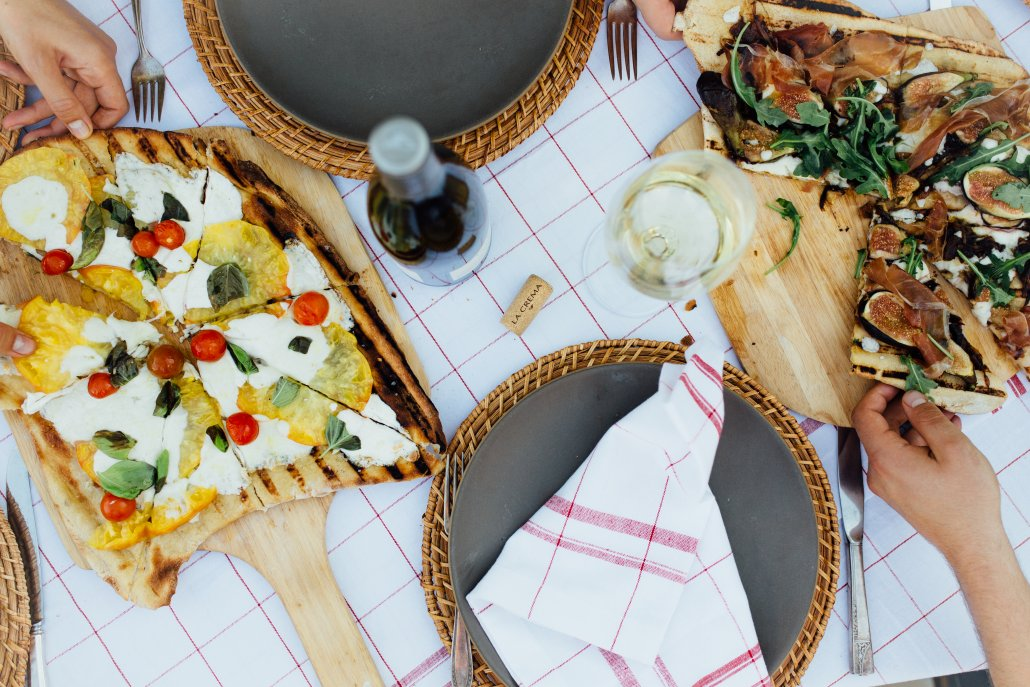 Homemade grilled pizzas were an excellent starter to our Tuscan Dinner Party featuring La Crema Monterey Chardonnay, hosted by Camille Styles