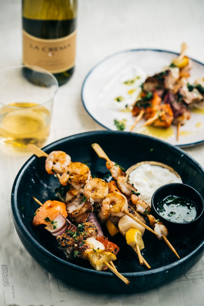 Seafood Skewers with Herbed Oil and Citrus Dipping Cream