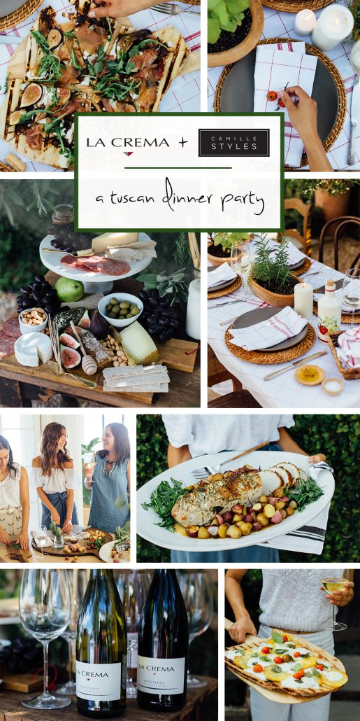 From the perfect cheese plate, to homemade grilled pizzas, to an epic herb-roasted pork loin, this Tuscan-inspired dinner by Camille Styles featuring La Crema's Monterey Chardonnay is one interactive gathering you'll definitely want to throw.