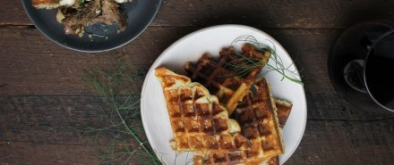 Scandinavian Dinner: Mashed Potato Waffles with Horseradish Sauce