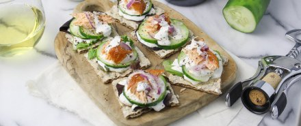 Scandinavian Dinner: Smoked Salmon Rye Crackers with Caper Cream