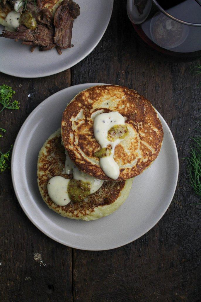 Mashed Potato Pancakes with Horseradish Sauce