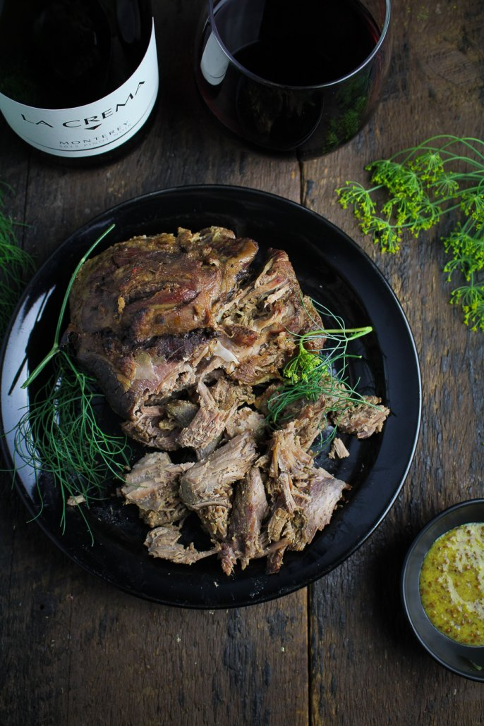 Mustard and Thyme Pulled Leg of Lamb