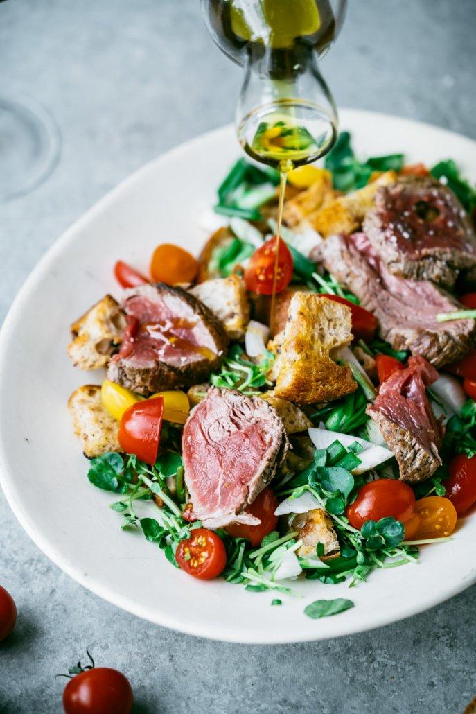 Beef Tenderloin Panzanella Salad, paired with La Crema's Monterey Pinot Noir