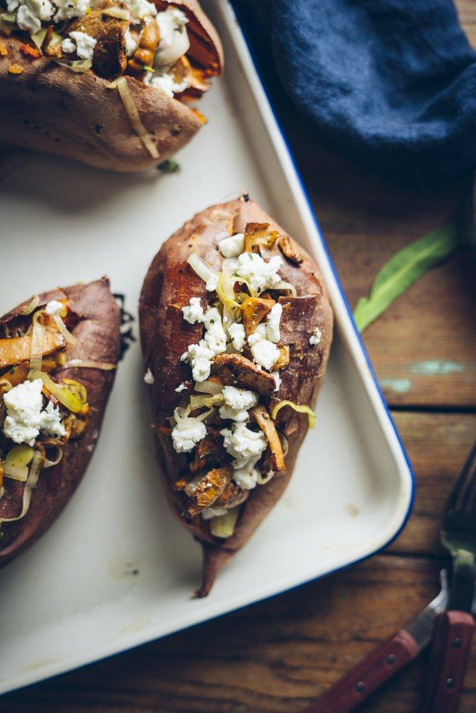 Chanterelle Stuffed Sweet Potatoes