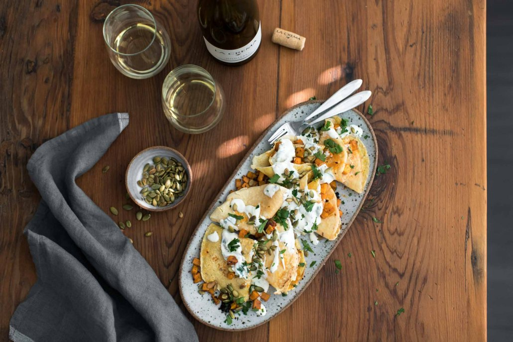 Chipotle Butternut Squash Crepes with Cilantro Crema and Pepitas