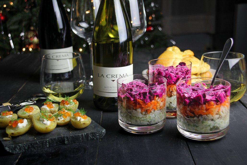 "Russian New Year's Menu: Potato Bites with Caviar, ""Herring Under a Fur Coat"" Salad and Mushroom Pirozhki"