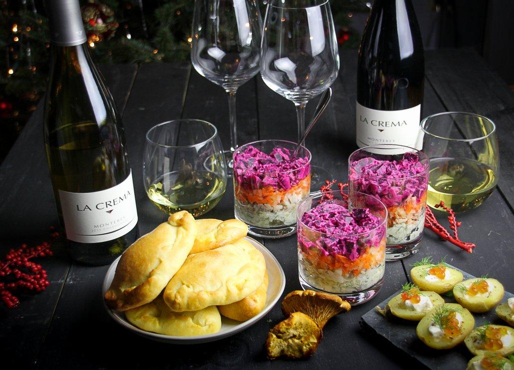 """Russian New Year's Menu: Potato Bites with Caviar, """"Herring Under a Fur Coat"""" Salad, Mushroom Pirozhki"""