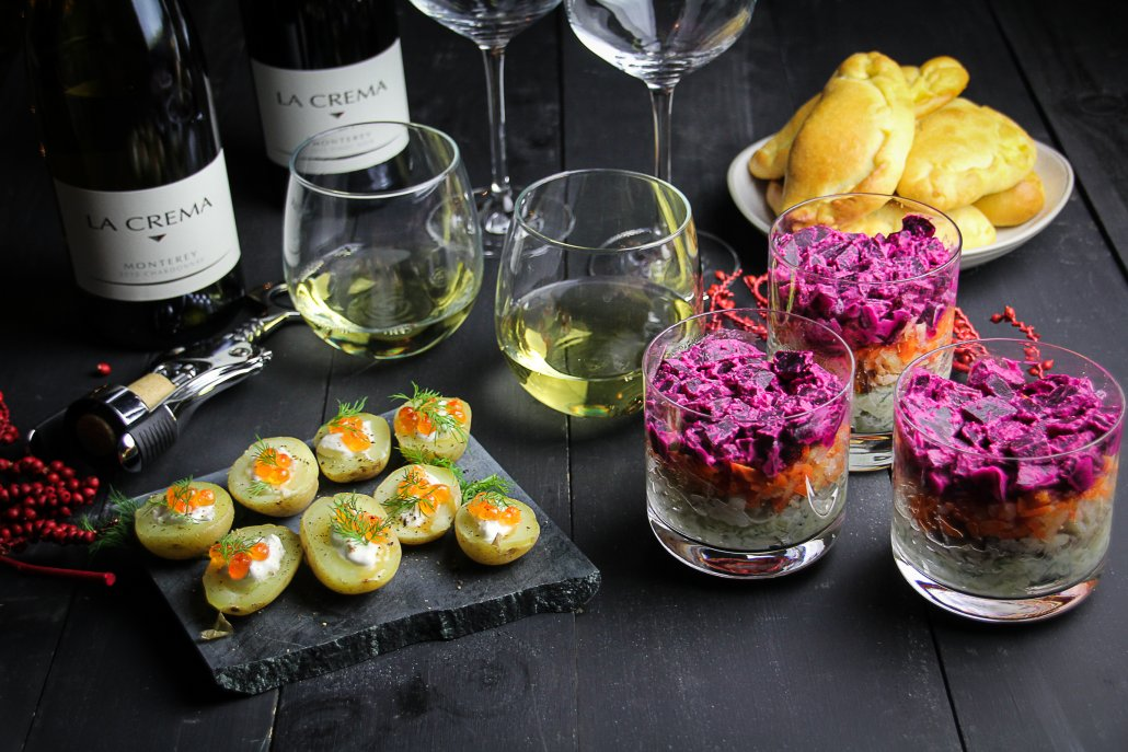"Russian New Year's Menu: Potato Bites with Caviar, ""Herring Under a Fur Coat"" Salad and Mushroom Pirozkhi"