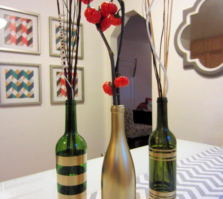 DIY Wine Bottle Decor: Spray Painted Wine Bottles