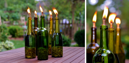 DIY Wine Bottle Decor: Wine Bottle Tiki Torch