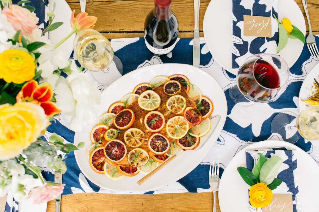 Spring Entertaining: Roasted Wild Salmon with Citrus, Chiles and Herbs
