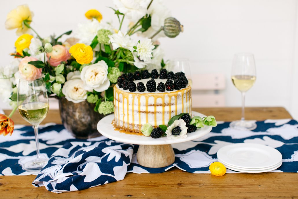 Spring Entertaining - Brown Butter Pecan Cake with Blackberries, Caramel & Cream