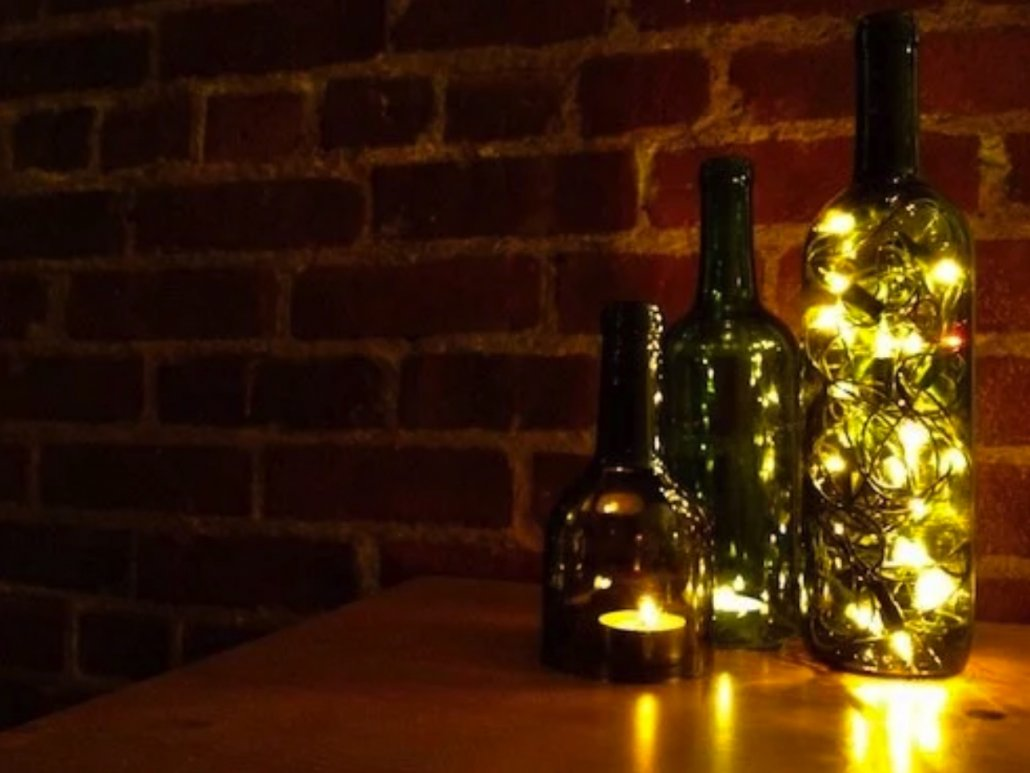DIY Wine Bottle Decor: Wine Bottle Hurricane Lamps