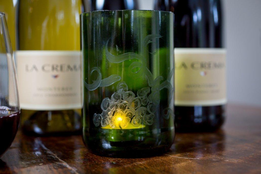 DIY Wine Bottle Decor: Etched Wine Bottle Votive Holder