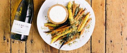 Rainbow Carrots with Yogurt and Pistachios