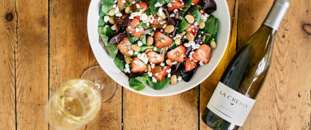 Baby Lettuce Salad with Goat Cheese & Strawberries hero image