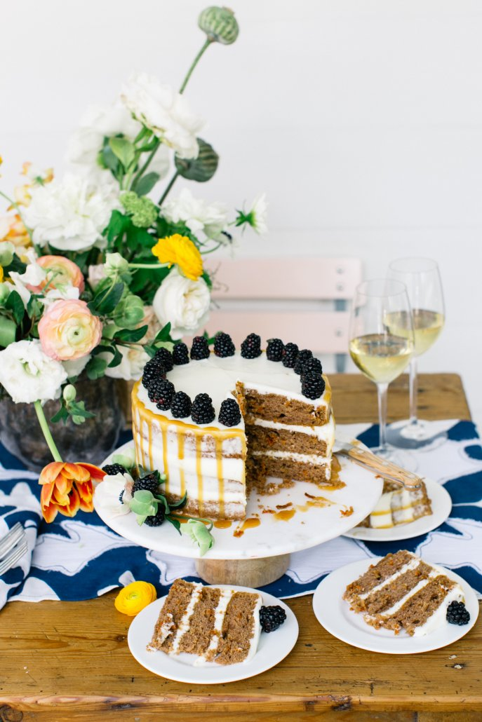 Spring Entertaining: Brown Butter Pecan Layer Cake with Blackberries and Cream