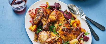 Hot Mustard Glazed Chicken with Roasted Citrus Veggies hero image