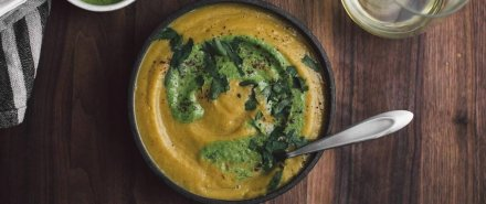 Sumac Acorn Squash Soup with Parsley-Tahini Sauce