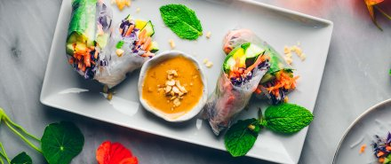 Fresh Spring Rolls with Peanut Sauce hero image