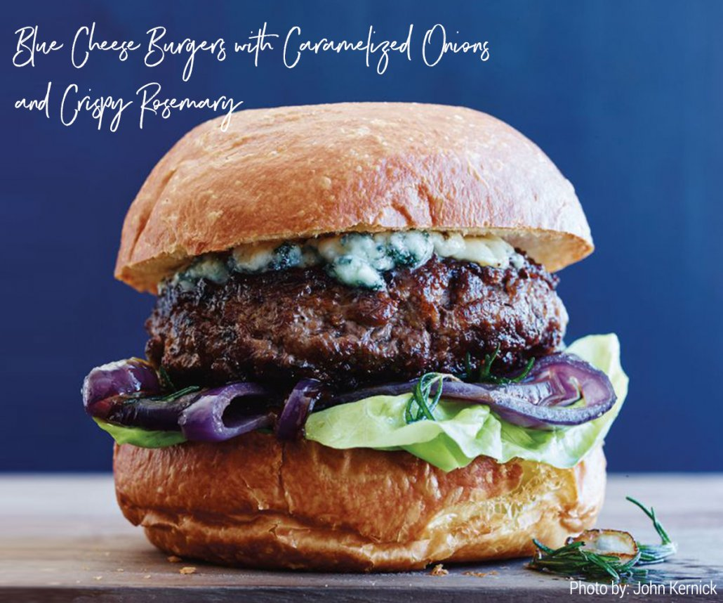 Gourmet Burgers for Summer: Blue Cheese Burgers with Caramelized Onions and Crispy Rosemary