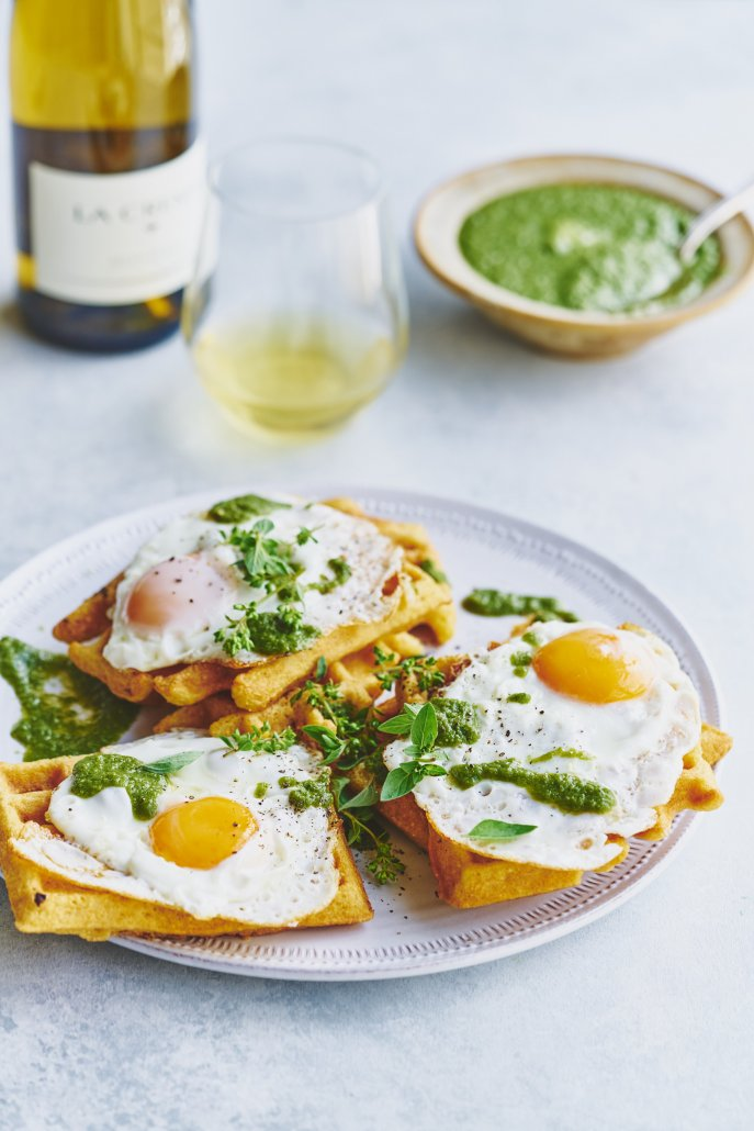 Green Huevos Rancheros and Cornmeal Waffles (Dairy-Free)