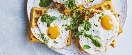 Green Huevos Rancheros and Cornmeal Waffles