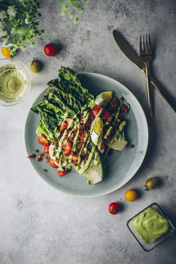 Grilled Romaine Salad with Avocado Dill Dressing
