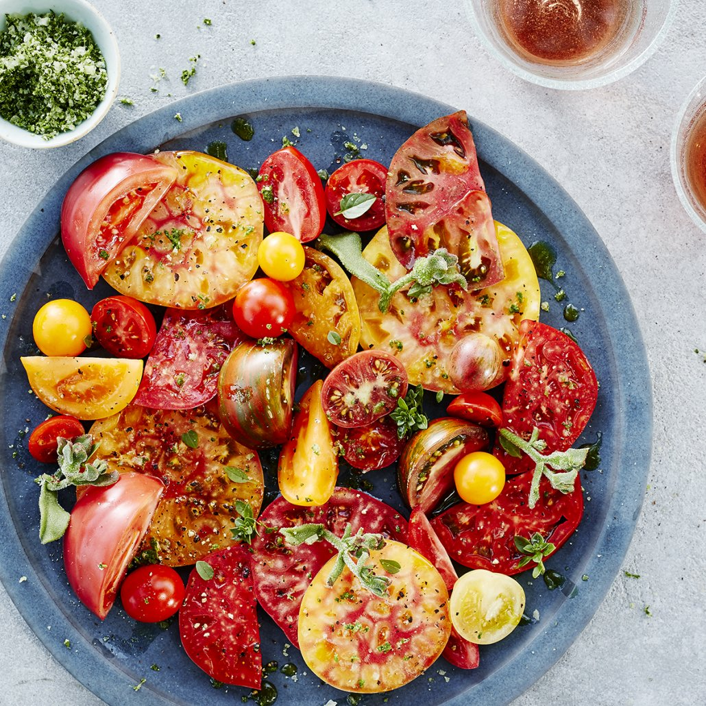 Heirloom Tomatoes with Basil Salt